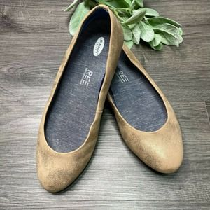 DR SCHOLLS | sz 6.5W Giorgie  Brushed Gold Flats